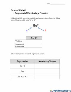 Interactive worksheet Grade 9 Polynomial Vocabulary Practice