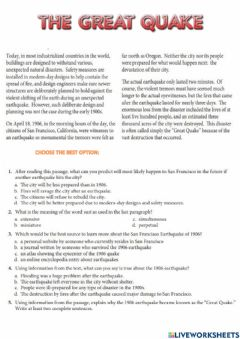 Interactive worksheet The great quake