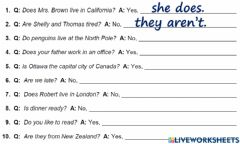 Interactive worksheet Yes No questions