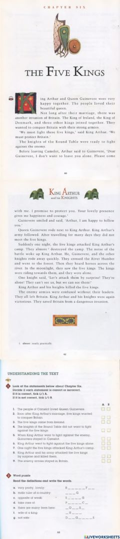 Interactive worksheet King Arthur and his Knights - Chapter Six