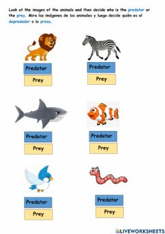 Interactive worksheet Predators and preys