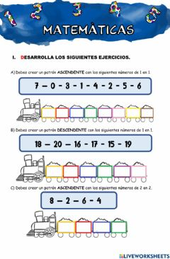 Interactive worksheet Numeros ascendentes y descendentes