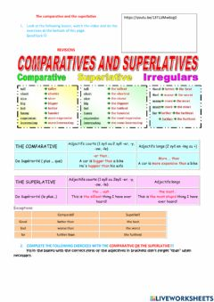 Interactive worksheet The comparative and the superlative