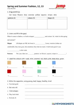 Interactive worksheet Spring and Summer Fashion