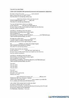 Interactive worksheet Song - You and I