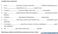 Interactive worksheet First Conditional Business Statements