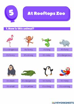 Interactive worksheet At Rooftops Zoo