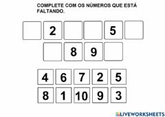 Interactive worksheet Numeral 1 a 10