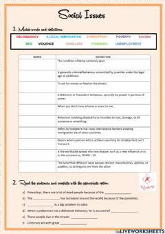 Interactive worksheet Social issues