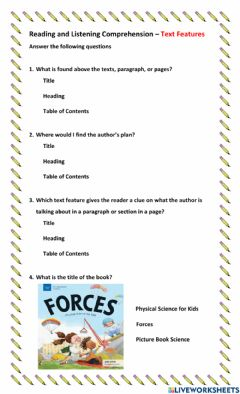 Interactive worksheet Comprehension - Text Features