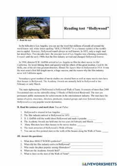 Interactive worksheet Reading test -Hollywood-
