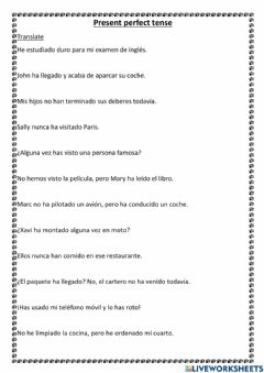 Interactive worksheet Translate Present Perfect tense from Spanish