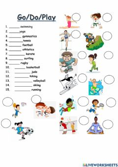 Interactive worksheet Do, play, go + sports