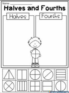 Interactive worksheet Halves and Fourths
