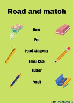 Interactive worksheet Pencil Case vocabulary