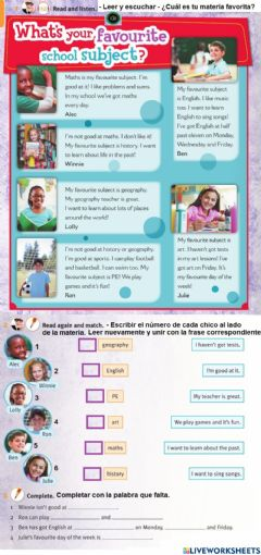 Interactive worksheet What's your favourite subject?