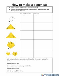 Interactive worksheet How to make a paper cat