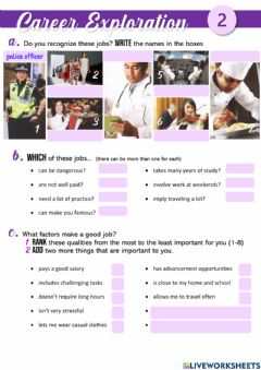 Interactive worksheet Career Exploration 2 - The best jobs