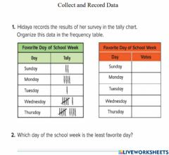 Interactive worksheet Collect and Record Data 1