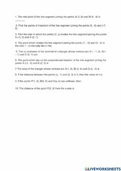 Interactive worksheet Coordinate geometry