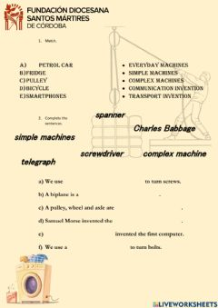 Interactive worksheet Machines and Inventions