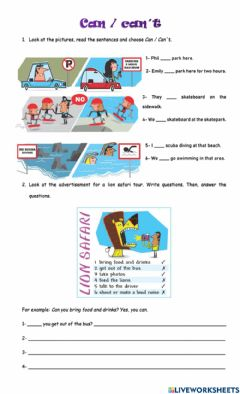 Interactive worksheet Can for rules
