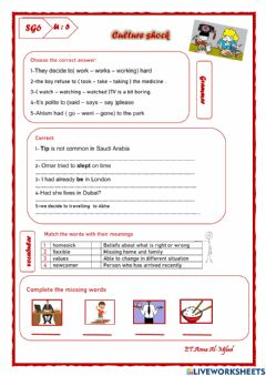 Interactive worksheet Revision SG6 U6