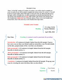 Interactive worksheet Describing an Event