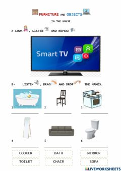 Ficha interactiva Furniture and Objects in the house