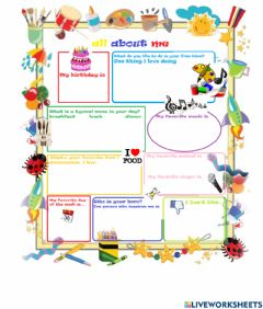 Interactive worksheet All about me 3