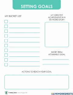 Ficha interactiva Wealthy Habits Setting Goals and Business Plan
