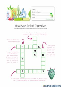 Interactive worksheet How Plants Defend Themselves