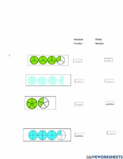 Interactive worksheet Mixed number fractions