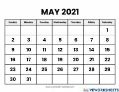 Interactive worksheet May 2021 Calendar and Questions