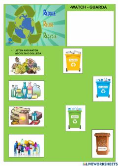Interactive worksheet Reduce Reuse Recycle