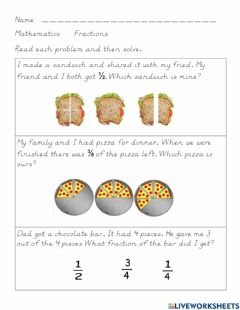 Interactive worksheet Fraction Word Problems