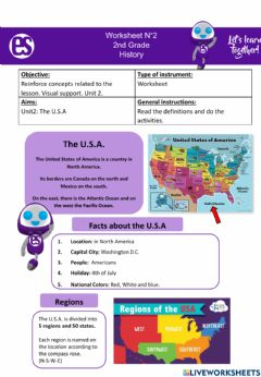 Interactive worksheet The usa- facts and regions