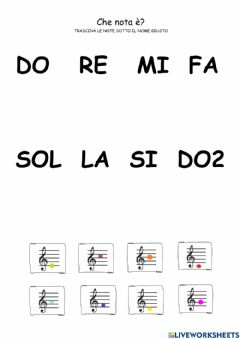 Ficha interactiva Le note musicali - drag and drop