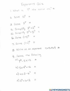 Interactive worksheet Exponents Quiz