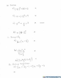 Interactive worksheet Exponents Quiz pg 2