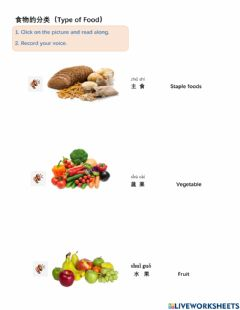 Interactive worksheet Food in Chinese