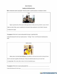 Interactive worksheet Sports Opinion Reading and Paragraph Writing