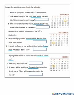 Interactive worksheet Elapsed Time in Days
