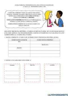 Interactive worksheet Substantivo