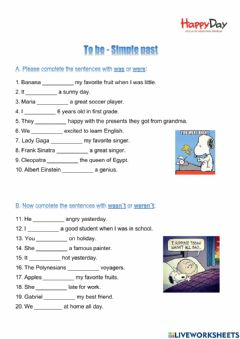 Interactive worksheet To be - Simple Past