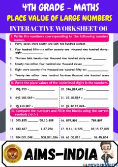 Ficha interactiva 4th-maths-ps06-place value of large numbers