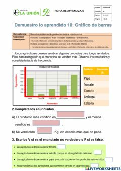 Interactive worksheet Demuestro lo aprendido (10)-4to grado