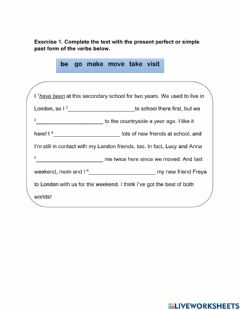 Interactive worksheet Present perfect & simple past