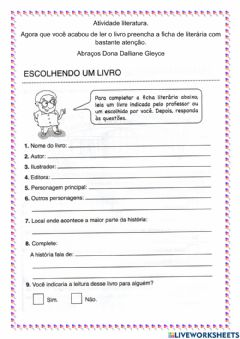 Interactive worksheet Ficha literária