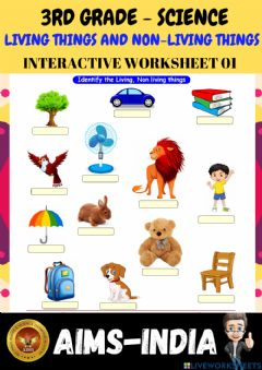 Interactive worksheet 3rd-science-ps01-living things & non living things
